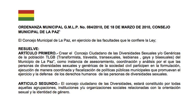 Ordenanza Municipal G.M.L.P. No. 084/2010