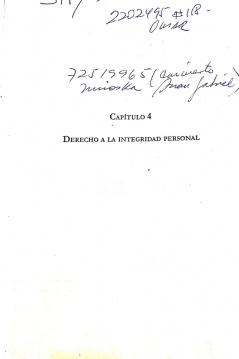 Capítulo 4: Derecho a la Integridad Personal